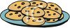 picture of fresh baked chocolate chip cookies on a blue plate in a vector clip art illustration clipart