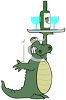 picture of a cartoon alligator holding a tray of wine and glasses in a vector clip art illustration clipart