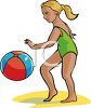 picture of a young girl bouncing a beach ball in the summertime in a vector clip art illustration clipart