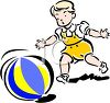 picture of a young child chasing a beach ball in a vector clip art illustration clipart