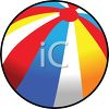 picture of a bright striped beach ball in a vector clip art illustration clipart