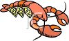 picture of a fresh lobster with slices of lemon in a vector clip art illustration clipart
