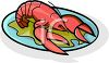 picture of a fresh cooked lobster on a plate of greens in a vector clip art illustration clipart