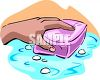 picture of a person's hand cleaning an area with a sponge in a vector clip art illustration clipart