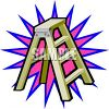 picture of a short step ladder with a pink and blue star behind it in a vector clip art illustration clipart