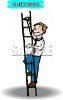 picture of a man climbing a step ladder in a vector clip art illustration clipart
