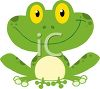 picture of a smiling frog sitting down in a vector clip art illustration clipart