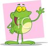 picture of a cartoon frog standing up giving a speech on a pink background in a vector clip art illustration clipart