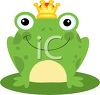 picture of a happy frog wearing a crown sitting on a lily pad in a vector clip art illustration clipart