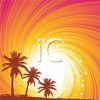 picture of a beautiful scenery of orange and pink swirly skies with palm trees in a vector clip art illustration clipart