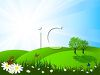 picture of a grassy meadow with trees, butterflies and daisies under a blue sky clipart