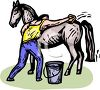 picture of a man giving his horse a bath in a vector clip art illustration clipart