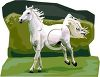 picture of a white horse rearing up it's back legs in the grass in a vector clip art illustration clipart