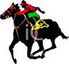 picture of a jockey riding a horse in a race in a vector clip art illustration clipart