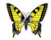 picture of a yellow butterfly with fly and red markings in a vector clip art illustration clipart