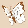 picture of a white butterfly with brown markings in a vector clip art illustration clipart