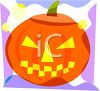 picture of a jack o lantern on the front of a greeting card in a vector clip art illustration clipart