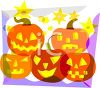 picture of 5 differently carved jack o lanterns on the front of a greeting card in a vector clip art illustration clipart