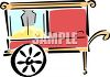 picture of a popcorn cart in a vector clip art illustration clipart