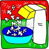Picture of an air popcorn popper with popcorn blowing into a bowl in a vector clip art illustration clipart