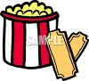 picture of a bucket of buttered popcorn with movie tickets in a vector clip art illustration clipart