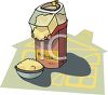picture of a air popcorn popper popping popcorn into a bowl. in  a vector clip art illustration clipart