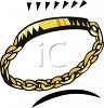 picture of a gold chain bracelet on a white background in a vector clip art illustration clipart