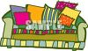 clip art illustration of a colorful couch with colorful couch pillows in a vector clip art illustration clipart