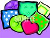an array of colorful couch pillows on a purple background in a vector clip art illustration clipart