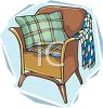 picture of a brown chair with a pillow and blanket in a vector clip art illustration clipart