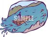 picture of a man floating down the river on a man made wooden raft in a vector clip art illustration clipart
