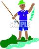 picture of a fisherman catching a fish in a river in a vector clip art illustration clipart