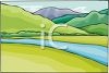 picture of a river flowing surrounded by hills and grass in a vector clip art illustration clipart