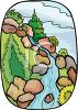 picture of a waterfall with rocks , trees, and greenery in a vector clip art illustration clipart