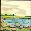 picture of a pond with rocks, sand, and green land in a vector clip art illustration clipart