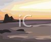 picture of a beach with rocks in the ocean at sunset in a vector clip art illustration clipart