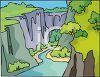 picture of a river running through a canyon in a vector clip art illustration clipart