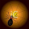Picture of a Black Widow in it's web on a dark background in a vector clip art illustration clipart