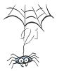 picture of a cute cartoon spider hanging from a web in a vector clip art illustration clipart