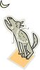 picture of a cartoon wolf sitting down howling at the moon in a vector clip art illustration clipart