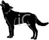 picture of a silhouette of a howling wolf in a vector clip art illustration clipart