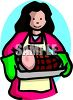 picture of a woman carrying a ham from the oven wearing oven mitts clipart