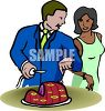 picture of a man slicing a ham with a woman standing by him in a vector clip art illustration clipart