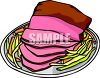picture of a sliced ham on a plate with vegetables on side clipart