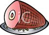 picture of a bone in ham on a plate in a vector clip art illustration clipart