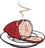 picture of a steaming ham on a plate in a vector clip art illustration clipart