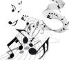 picture of music notes on an abstract staff in a vector clip art illustration clipart