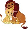 Picture of a Mother lion cuddling with her cub in a vector clip art illustration clipart