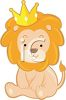 picture of a lion cub sitting down wearing a crown in a vector clip art illustration clipart