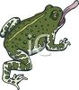 picture of a toad with his purple tongue sticking out in a vector clip art illustration clipart